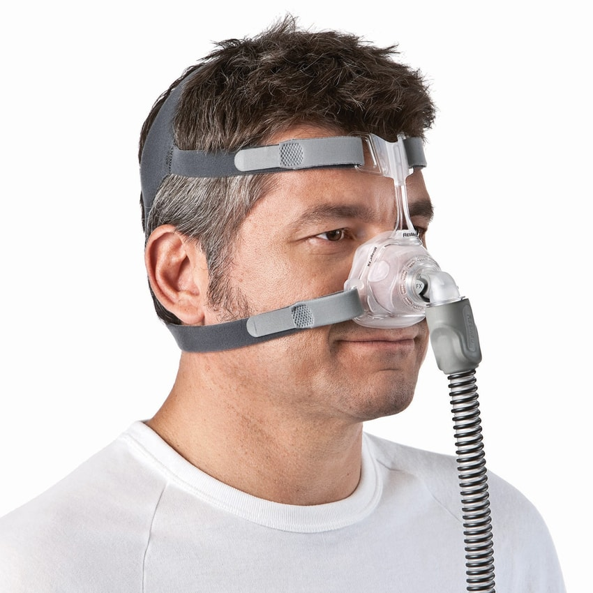 Man Wearing ResMed Mirage FX Nasal CPAP Mask