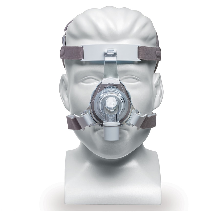 Respironics TrueBlue Nasal CPAP Mask and Headgear front